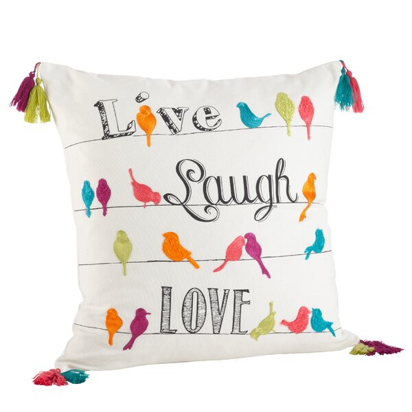 Vivace Embroidered 100% Cotton Throw Pillow by Saro